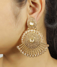 Indian Beautifull Traditional Gold Polished Polki Longs Earrings Jewellery for womens