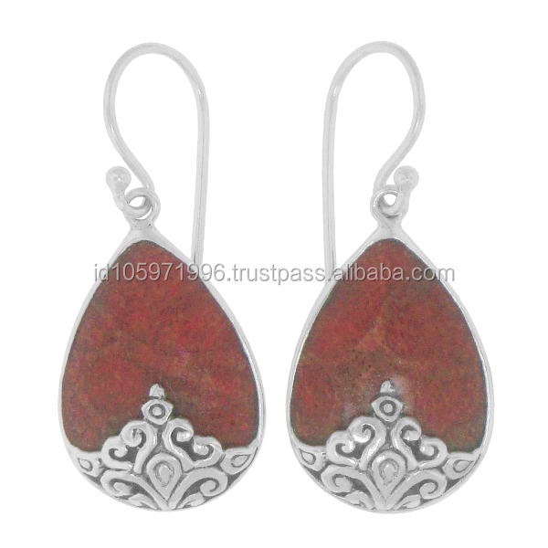 Bali Ornate Silver Earring with Red Coral