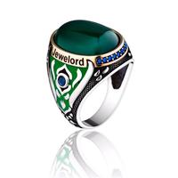 Silver Men's Ring Jewelord Design With Green Color Stone