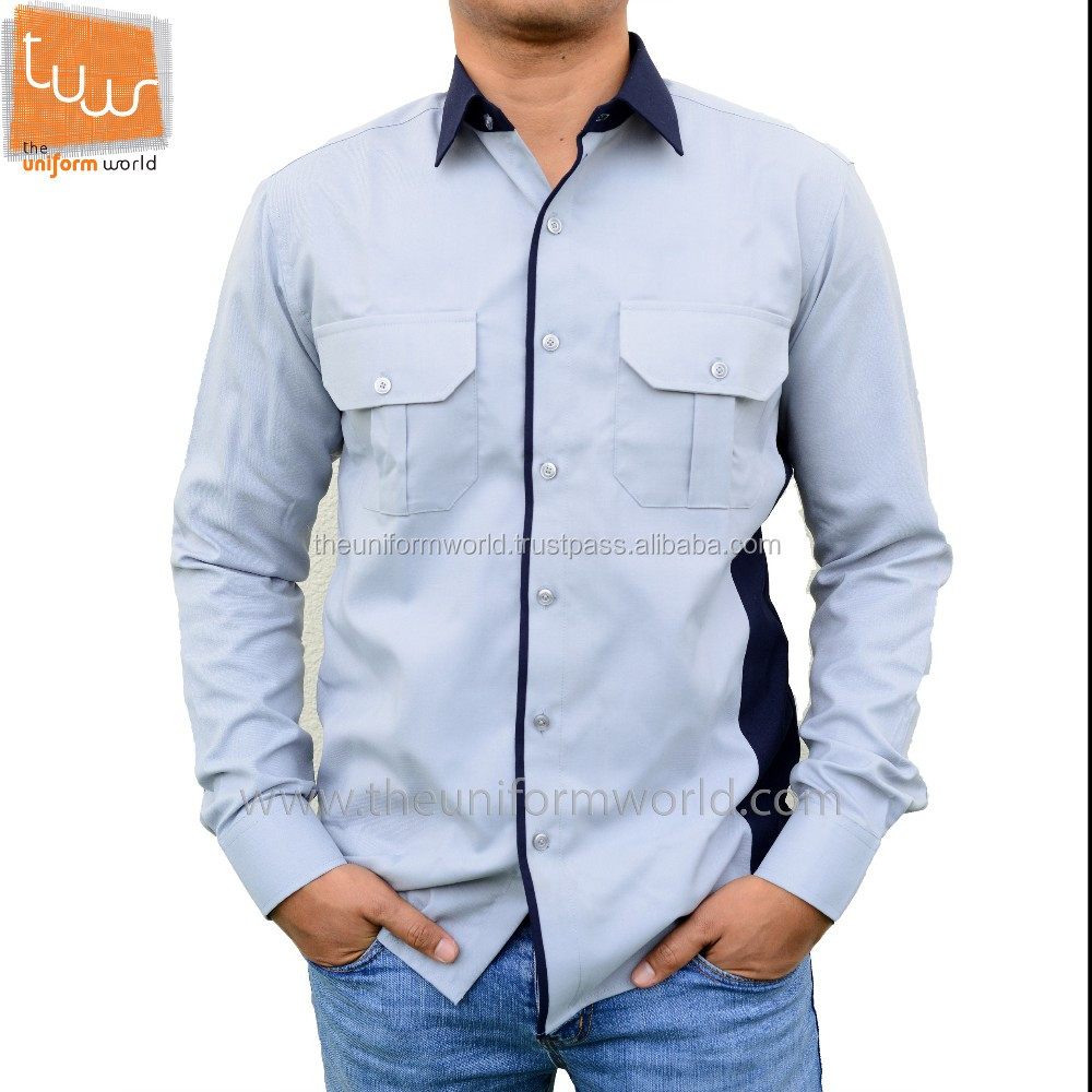 Full Long Sleeve Shirt Light Blue with Navy Blue Contrast Cotton Uniforms Work Wear Manufacturer in Dubai UAE