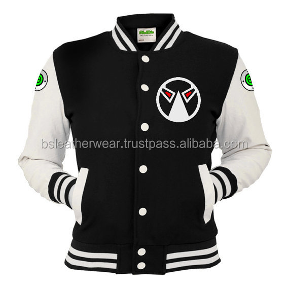 Varsity Letterman College Baseball Cotton Leather Jacket Black and White Leather Sleeve