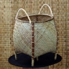 100% Handmade Handicraft Hand Weaving Eco Friendly Natural Rattan Wicker Bamboo Laundry Basket with Leg Stand from Borneo