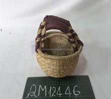 Small size seagrass shopping basket lovely straw fruit basket hand weaving wicker bolga basket made in Vietnam