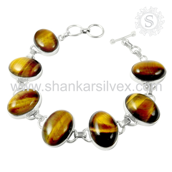 Flashy tiger eye gemstone bracelet silver jewellery exporter 925 sterling silver jewelry handmade india