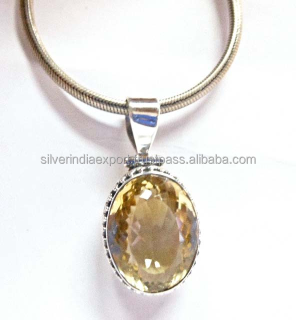 Natural citrine stone pendant beautiful hand made work 925 sterling silver pendants