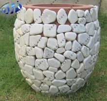 indoor white sandstone garden round decor flower pots