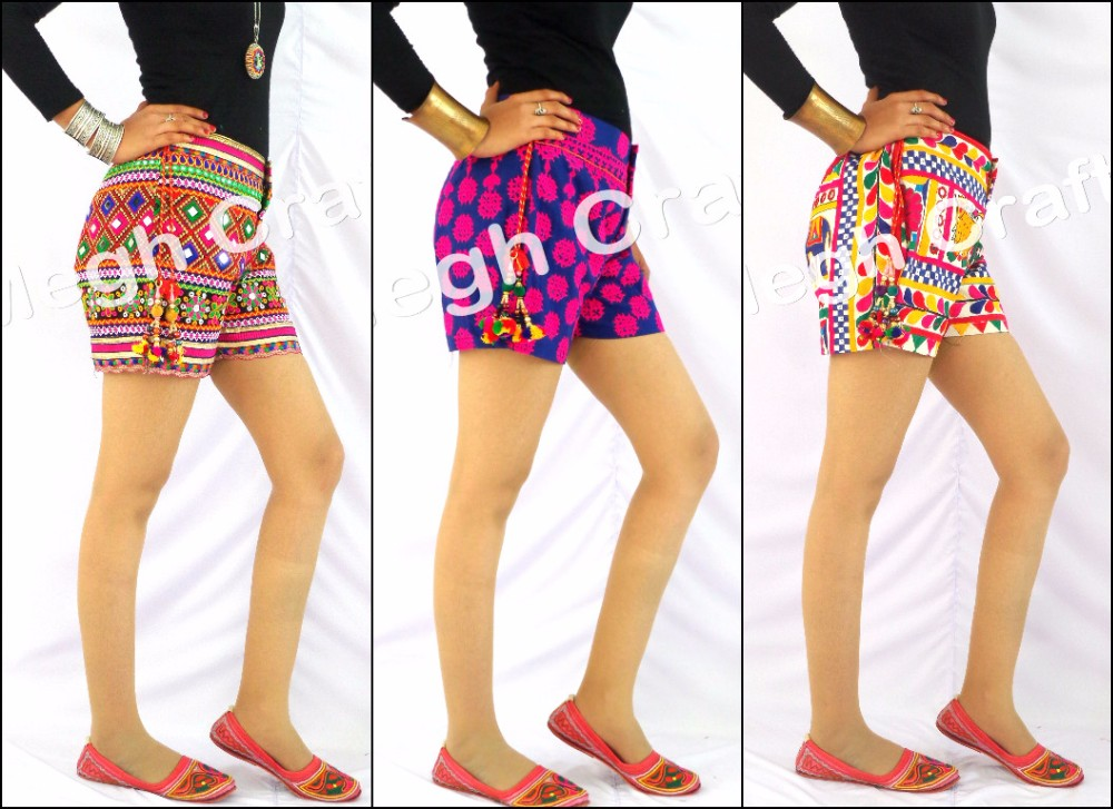 Vintage Kutch Boho Style Shorts - Kutch Embroidered Shorts - Banjara Shorts - Traditional Shorts-Rabari Style Shorts