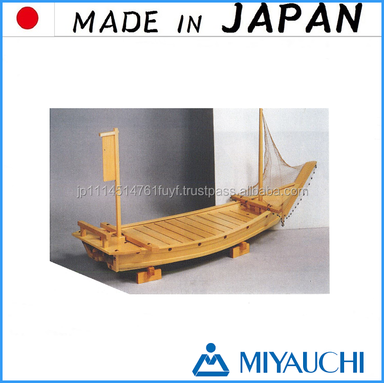 Famous wooden trays ready Big Catch Sushi Boat with natural made in Japan