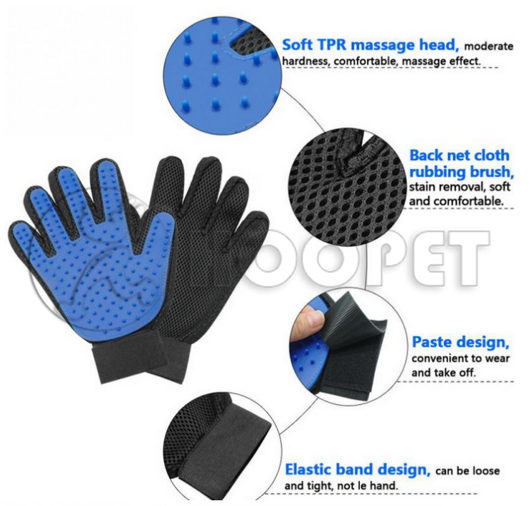 Pet Grooming Glove - Pet Glove Massage Magic Hair Remover - Perfect for Dogs & Cats with Long & Short Fur