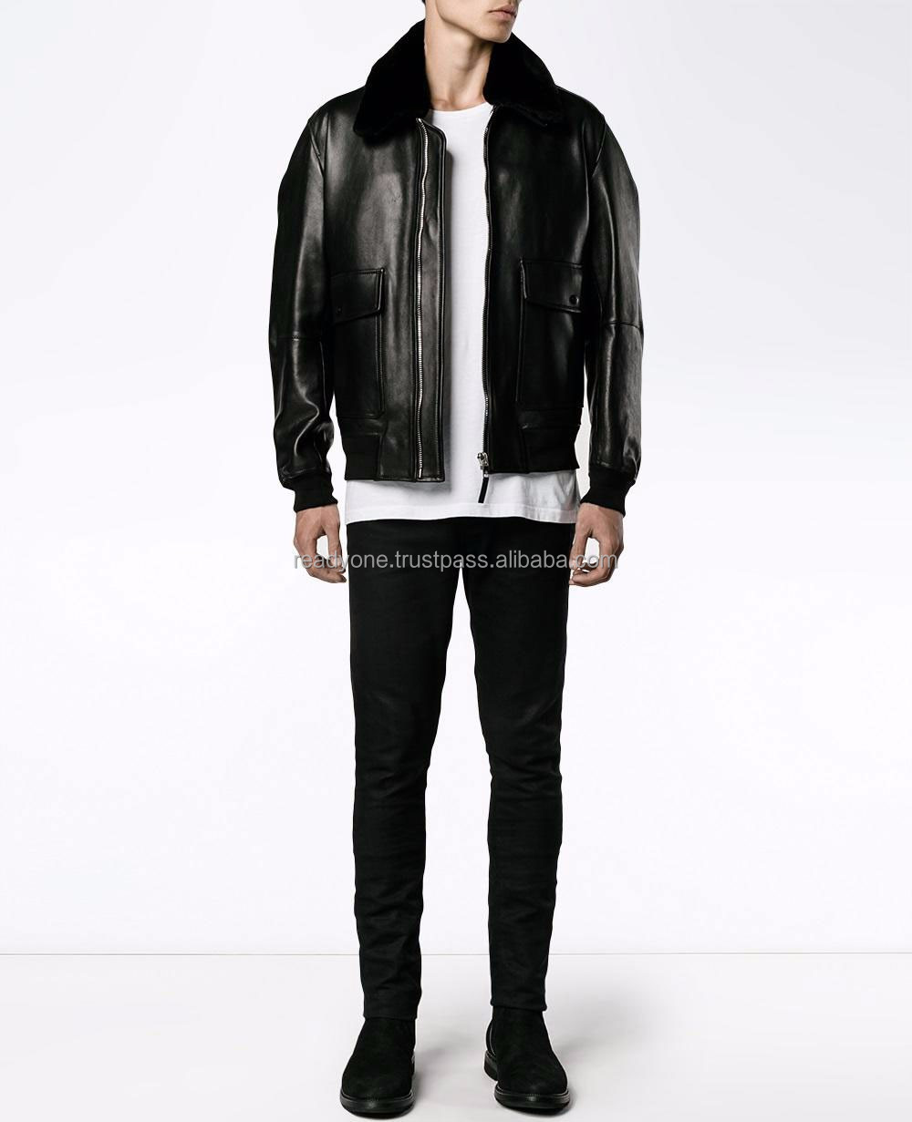 fit classic customized slim fit men pu leather / original leather jacket