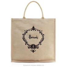 Matching trims Jute shopping tote bag
