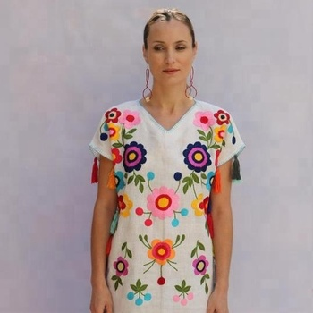 long multi color tassels Mexican embroidered women Cotton tunic top embroidered long Mexican Dresses