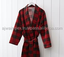 buffalo-check-flannel-robe-cotton bath robes | luxury designed bath robes