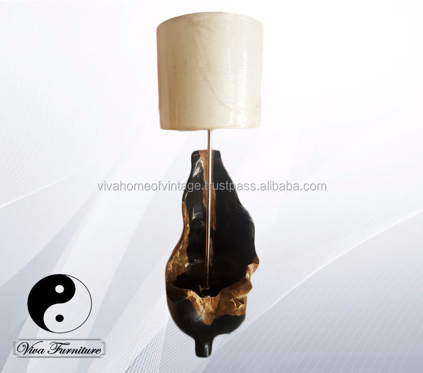 "Wooden Queen High Lamp petrified look/ fossil replica hand painted color ""Chocolate and Black"""