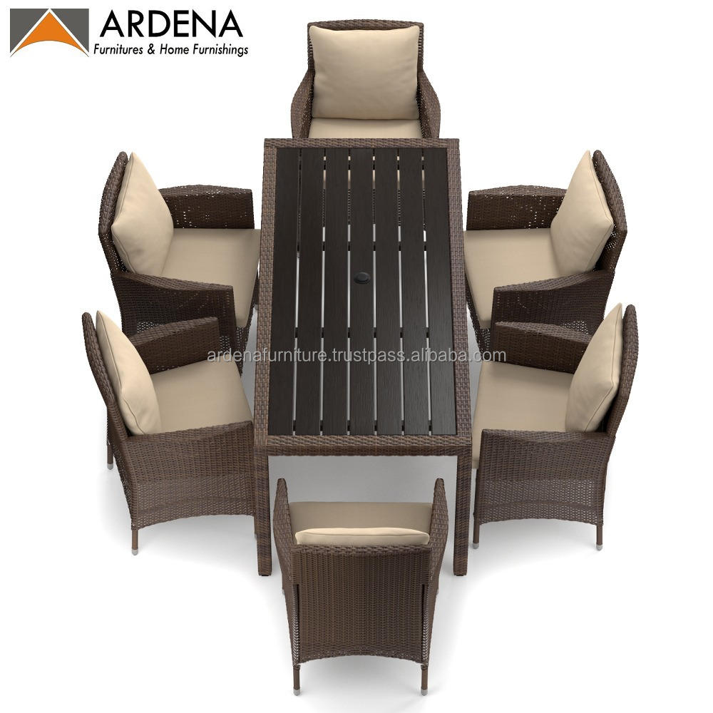 Cheap Ardena patio 6 rattan chair dining set outdoor furniture for hotel or resort villa leisure