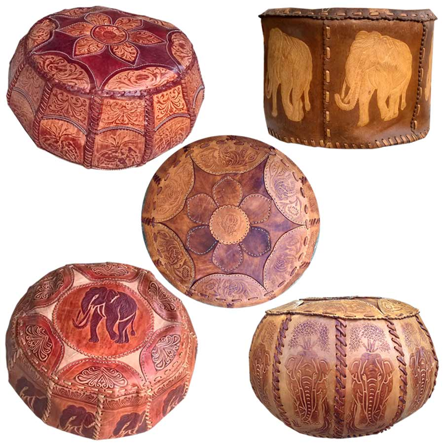 Hand Made 100% Genuine Leather Pouffe Ceyon Stool(Humty)
