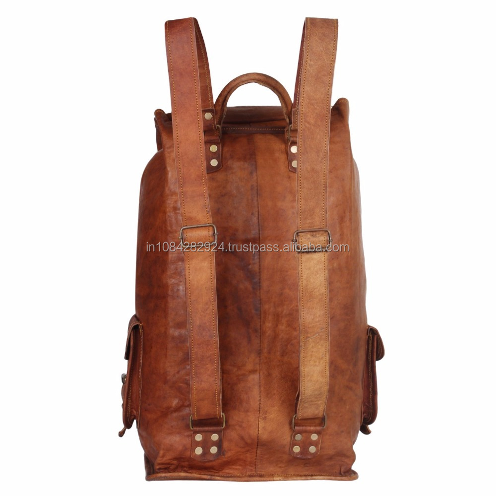 Men's Leather Canvas Backpack Large School Bag Travel Rucksack