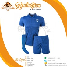 RSU-36 Wholesale New Blue Dry Fit Soccer Uniforms with Print Your logo Shirt + Shorts + Socks