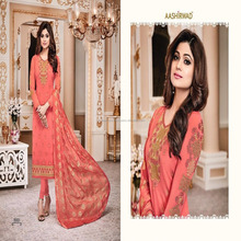 Cross Stitch Peach Color Embroidered Georgette Long Chudidar Salwar Suit