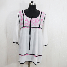 Indian Embroidered tunics white lace dress European Casual wear bohemian dresses