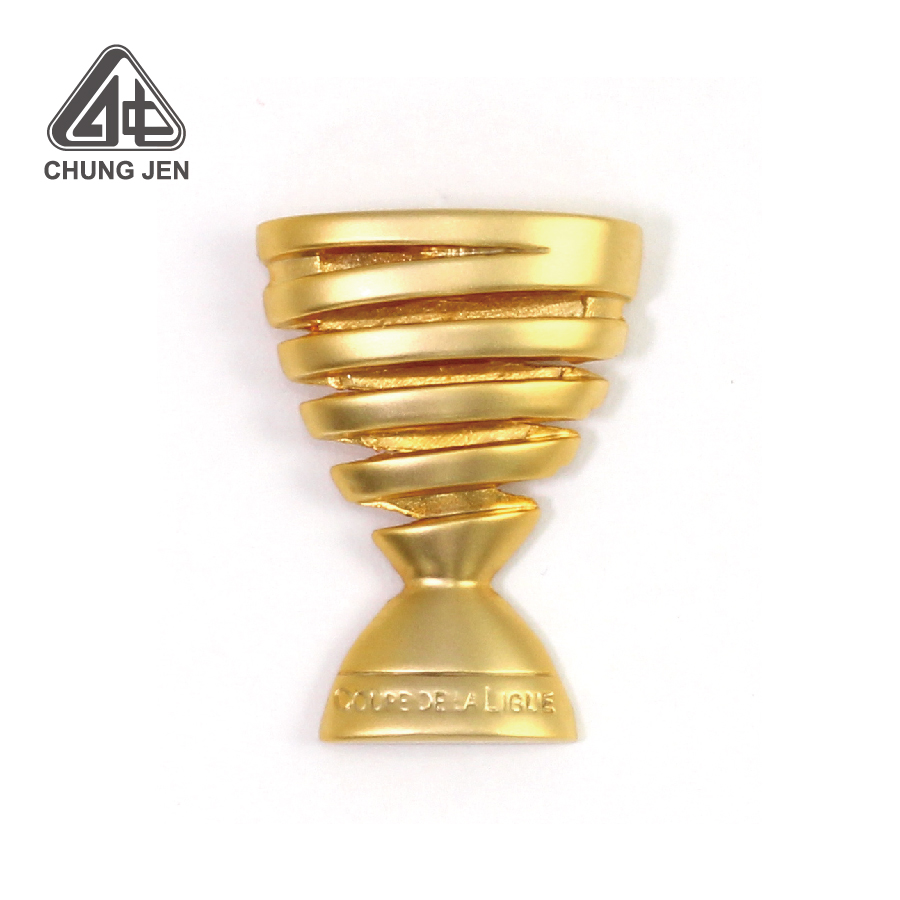 Customized 3D Embossed Golden Trophy Cup Pin Badge