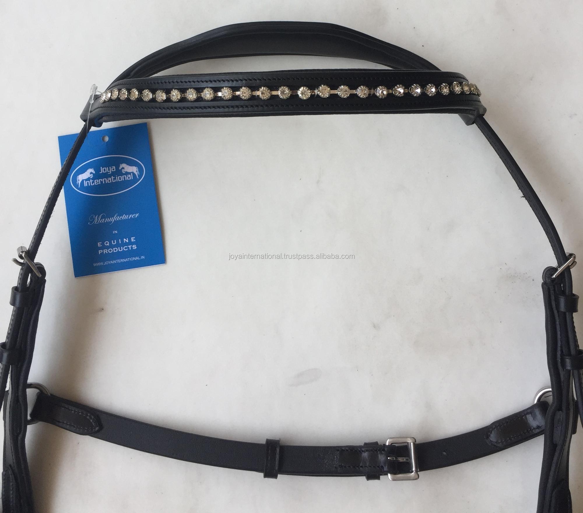 Horse Micklem Leather Competition Diamante Bridle, Horse Micklem bridle with crystal