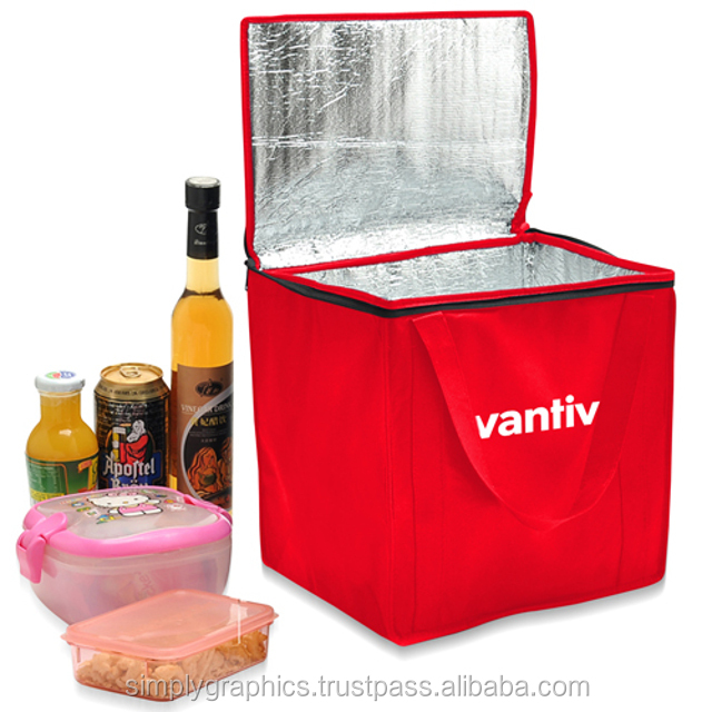 Non-Woven Foil-Lined Lunch Bag Foil-lined Insulation, Zip Closure, Handy Carrying Handles