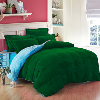 3PC Classic Collection Reversible Sky Blue & Green US Twin Size Velvet Duvet Cover Set