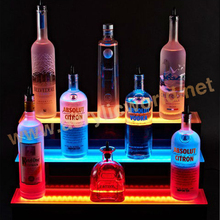 3 tier acrylic display / led liquor wine bottle display / illuminated acrylic bar display shelf