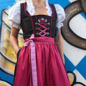 DRINDL/New Style German,Springfest,Trachten,Oktoberfest,Halloween,Dirndl,3-pcs pink dress