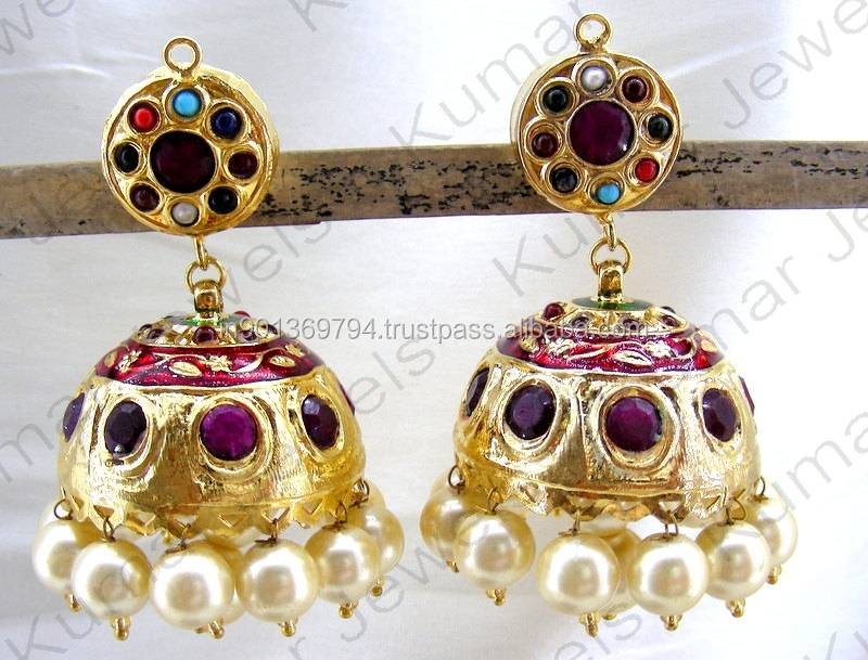 Ethnic Rajwara Look Multi Color Corundum Stone Pearl Beaded Rajasthan Indian Traditional Royal 22kt Gold Plated Jhumka Earrings