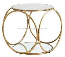 Exclusive Round Brass Pattern Marble Top Coffee Table