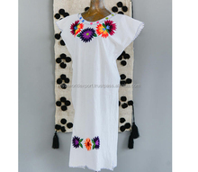 Summer fashion Mexican embroidered women Cotton Long Designer Tunic Tops Hand Embroidery Mexican Dress