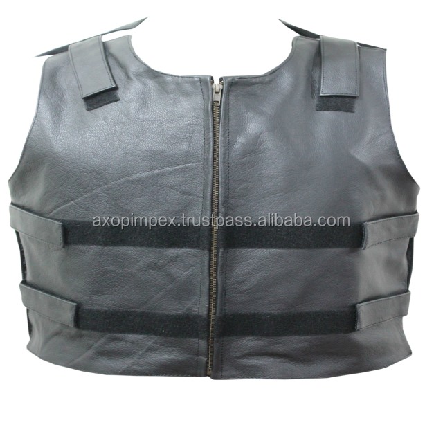 Bullet Proof style Leather motorcycle vest With Gun Pockets