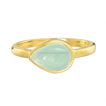Sweet and delicate Aqua Chalcedony handmade Designer 18K Gold Plated Ring