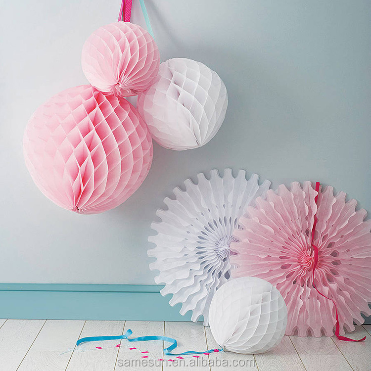 Tissue Paper Fan and Paper Ball Wedding Decoration
