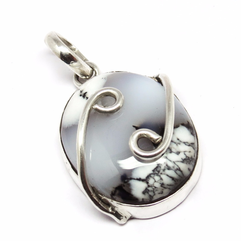 Good Health !! Dendritic Opal 925 Sterling Silver Pendant, Gemstone Silver Jewelry, Sterling Silver Jewelry