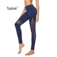 Toplook Quick Dry Stretch Leggings Side Mesh Sports Pants Solid Yoga Compression Tights High Quality L147