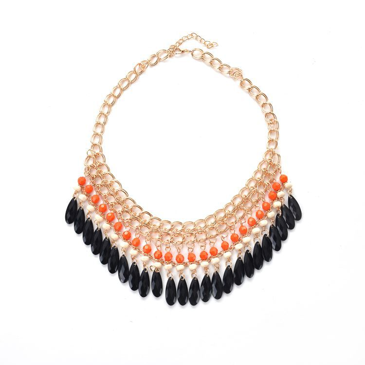 2017 Fashion Droplets Tassel Bohemian Big Maxi Necklace Choker Collier Bijoux Women Black Statement Necklace Jewelry