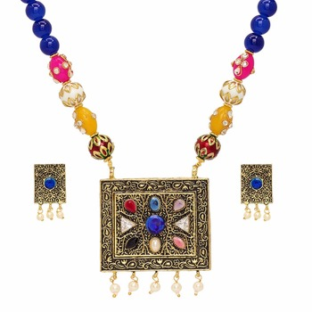 Jaipur Mart Gold Plated Blue Color Colored Glass Stone, Color Beads, Pearl Necklaces With Earrings