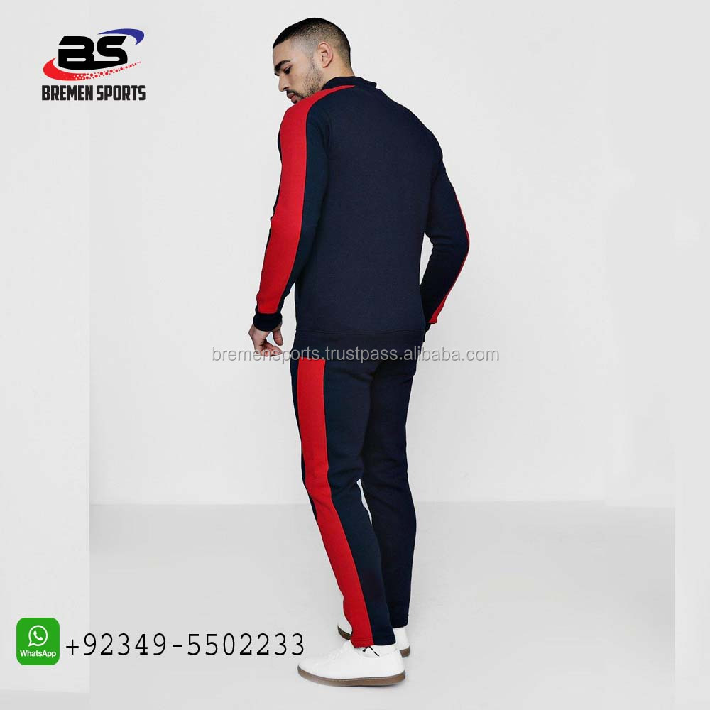 contrasted black red fresh look track suit 100% cotton custom made suit for men