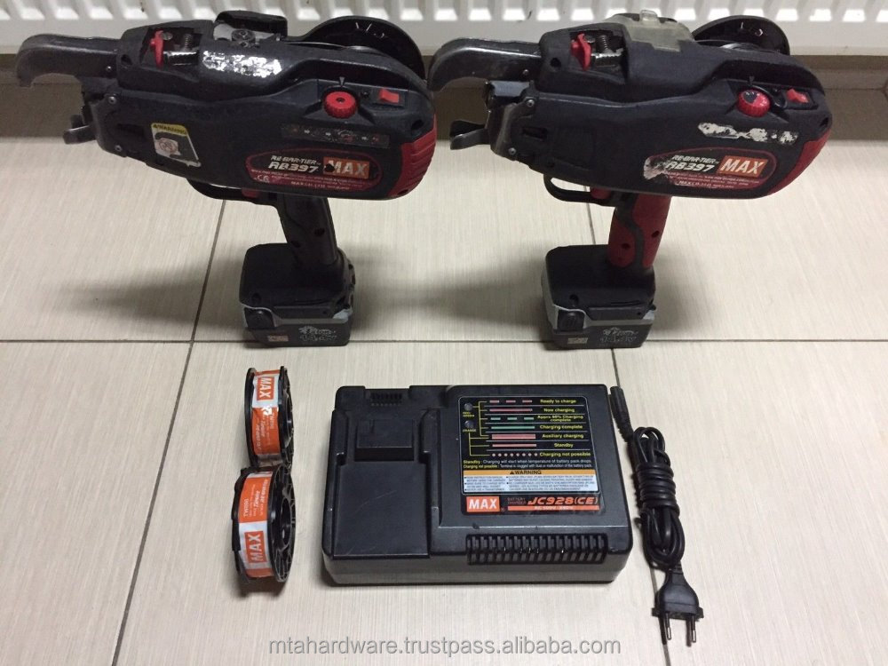 USED 2x Rebar Tier RB397 MAX Cordless Battery Operated Tying Machine Tested Good Condition
