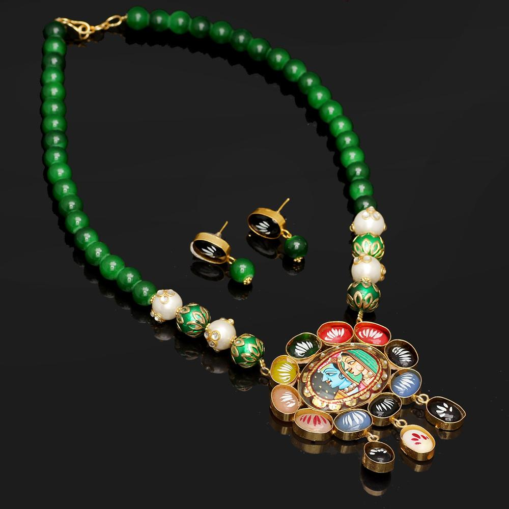 Jaipur Mart Gold Plated Green Color Colored Glass Stone, Color Beads, Pearl Necklaces With Earrings
