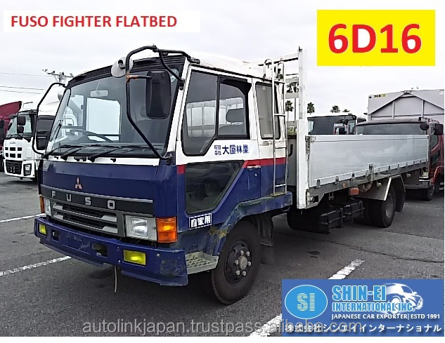 1991 MITSUBISHI FUSO FIGHTER FLATBED TRUCK / FK517J / 4TON / 6D16 / AIR BREAKS [WSH]