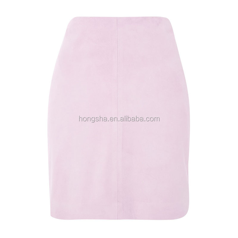 2017 Summer Women New Fashon Pink Mini Suede Skirt HSs9273