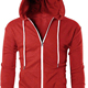 New Red Hoodie for Men White Zip Over Latest