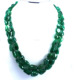 Emerald uneven nuggets tumble beads Necklace with 925 Silver Claps