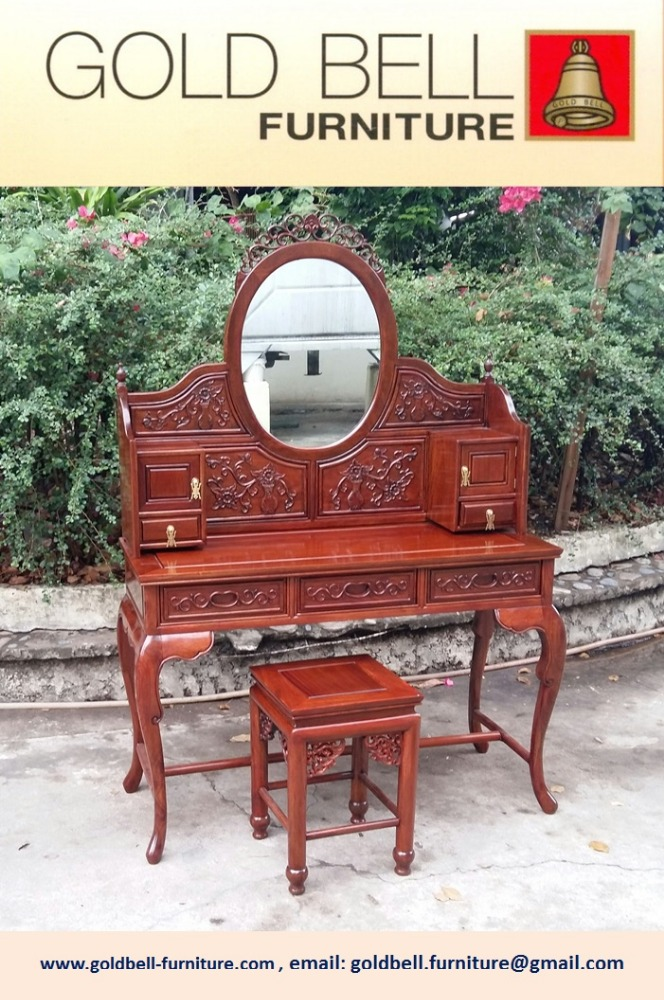 Dressing Table w/stool, carved design