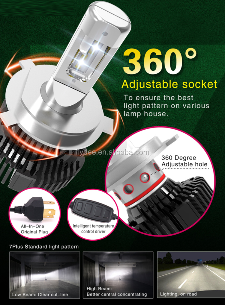 2019 Wholesale led car headlights bulbs 7S plus Led custom headlights 6500lm led H4  auto led strip lights waterproof exterior