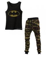 Batman Black Boys Clothes 2Pcs Suit, Pajamas 100% Cotton Pyjama T-Shirt